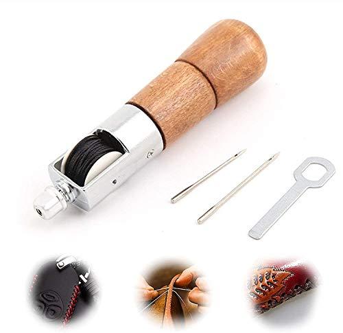 Kit di strumenti per punteruolo da cucito Ago per punteruolo da cucito artigianale in pelle Set di cucitrici a mano per riparazioni in pelle con stoffa spessa portatile