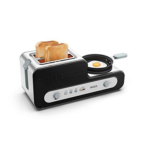Rozi Tostapane 2 Fette con PadellaTostapane per Toast 6 Livelli Acciaio Inossidabile Tostapane Automatico per Uova Sode/Sandwich/Bagel1230W (Nero)