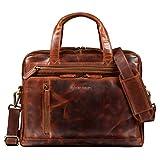 STILORD 'Avery' Bolsa de Trabajo Piel Damas Hombres Bolsa de Hombro Vintage Maletín Business 13.3' Funda para portátil para MacBook Cuero, Color:Kara - Cognac