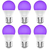 Onforu 6 Pack LED Black Lights Bulb 60W Equivalent, 7W A19 E26 Bulb, Purple Bulb 385-400nm, Glow in The Dark for Halloween, Black Lights Party, Body Paint, Fluorescent Poster, Neon Glow