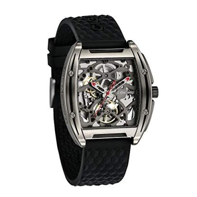CIGADesign Mens Automatic Titanium Watch Skeleton Design Black Silicone Strap with Sapphire Crystal