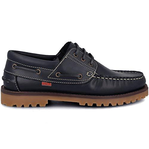 PAYMA - Zapatos Nauticos Sport Casual Hombre. Clasicos 3-Ojales de Piel. Piso de Goma. Cierre Cordones y Velcro, Azul marino, EU 44