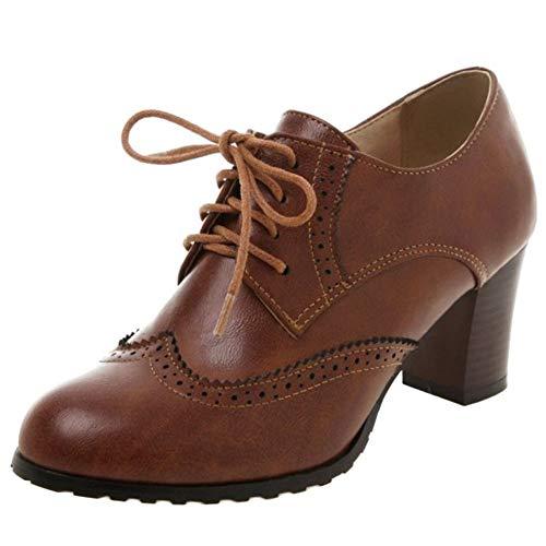Lydee Mujer Clásico Block Tacon Medio Oxford Zapatos Cordón Up High Top Brogue Oficina Colegio Costume Zapatos Dark-Brown Talla 42
