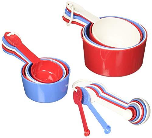 prepworks from Progressive International - Juego de 19 utensilios, 9 cucharas y 10 tazas medidoras, rojo/blanco/azul