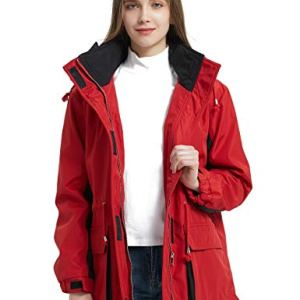 Bellivera Women's Outdoor Windbreaker Jacket,The Warm Padding Trench Coat with Hood for Spring and Winter
