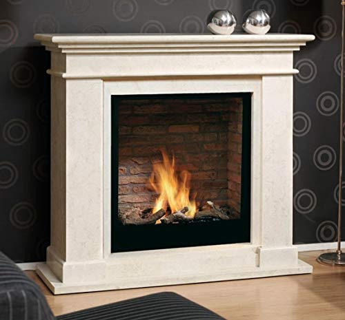 Casa Padrino Art Nouveau Fireplace with Bio Burner and Glass Screen Cream White 119 x 39 x H. 108 cm Ethanol Fireplace