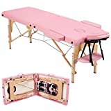 go2buy 2 Sections Spa Tables Height & Width Adjustable Massage Table Bed Wood Folding Treatment Table with Carrying Case 84 Inch Pink