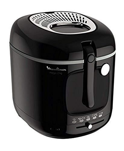 Moulinex Friteuse Fry Mega, Capacité 3,3 L d'huile pour 2 Kg de frites, 1800 W, Thermostat, Minuteur, Voyant lumineux, Parois froides, Tamis filtrant breveté AM480870