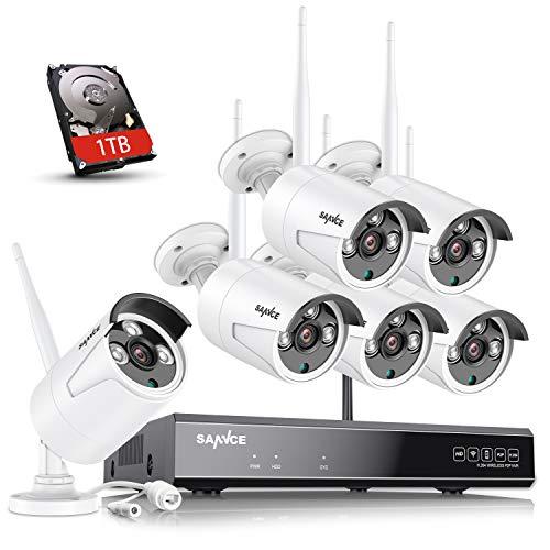 SANNCE Kit Videosorveglianza WiFi 1080P 8CH NVR +6PCS Telecamere Wifi, Kit Telecamere di Sorveglianza WiFi, Sistema Videosorveglianza WiFi, Visione Notturna, Motion Detection, P2P, 1TB HDD