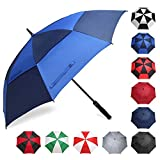 BAGAIL Golf Umbrella 68/62/58 Inch Large Oversize Double Canopy Vented Automatic Open Stick Umbrellas for Men and Women(Navy/Royal Blue,62 inch)