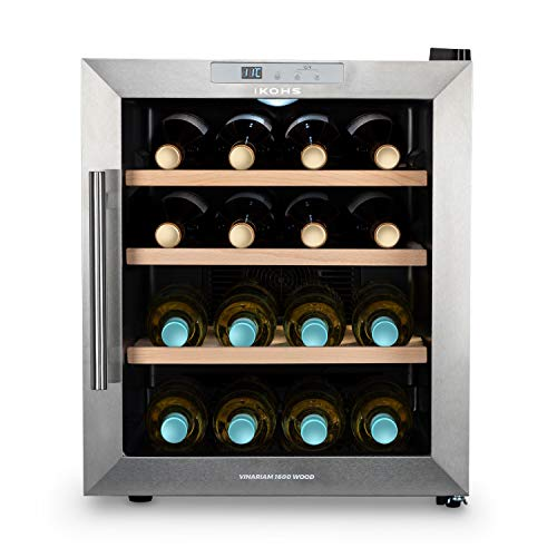 CREATE IKOHS WINECOOLER WOOD L - Cantinetta da 16 bottiglie, 46 l, 70 W, luce LED, display digitale, 3 ripiani, doppio isolamento, zone di temperatura da 8 a 18 gradi, ripiani in legno