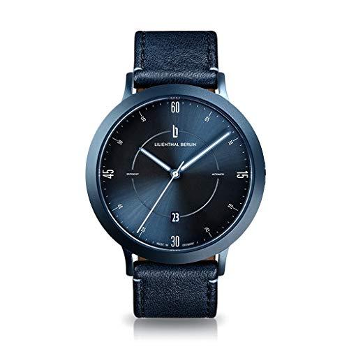 Lilienthal Berlin Zeitgeist Automatik Armbanduhr (Gehäuse: blau/Zifferblatt: blau/Armband: Leder blau)