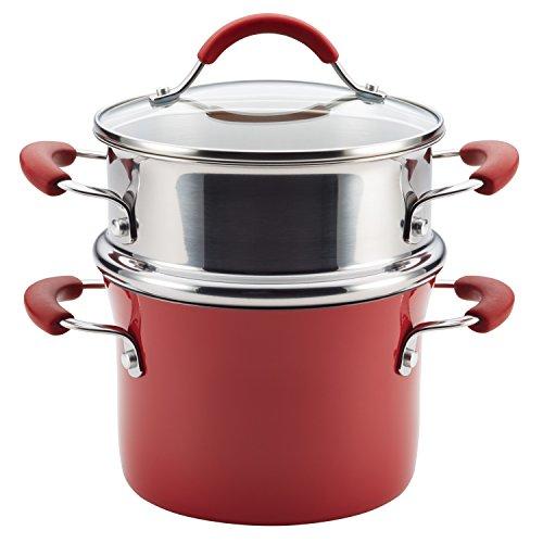 Rachael Ray Cucina Hard Porcelain Enamel Nonstick Multi-Pot / Steamer Set, 3-Quart, Cranberry Red - 16800