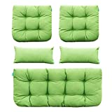 QILLOWAY Outdoor Patio Wicker Seat Cushions Group Loveseat/Two U-Shape/Two Lumbar Pillows for Patio Furniture,Wicker Loveseat,Bench,Porch,All Weather, Settee of 5 (Green)