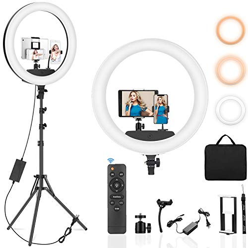 PEYOU 22' Selfie Ring Light with 75' Tripod Stand with Ring Light Remote & Remote Shutter & 2 in 1 Tablet Phone Holder, LED Ring Light for Vlog, YouTube, Makeup, Live Stream, Video Shooting, Selfie