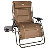 """TIMBER RIDGE XXL Oversized Zero Gravity Chair, Full Padded Patio Lounger with Side Table, 28"""" Wide Reclining Lawn Chair, Support 500lbs (Brown)"""
