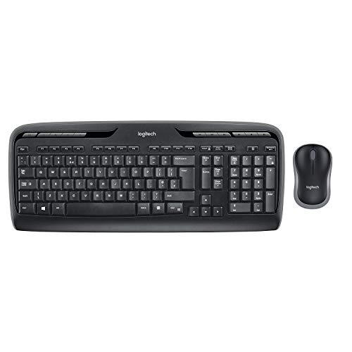 Logitech MK330 Kabelloses Tastatur-Maus-Set, 2.4 GHz Verbindung via Unifying USB-Empfänger, 4 programmierbare G-Tasten, 12 bis 24-Monate Batterielaufzeit, PC/Laptop, Deutsches QWERTZ-Layout - schwarz