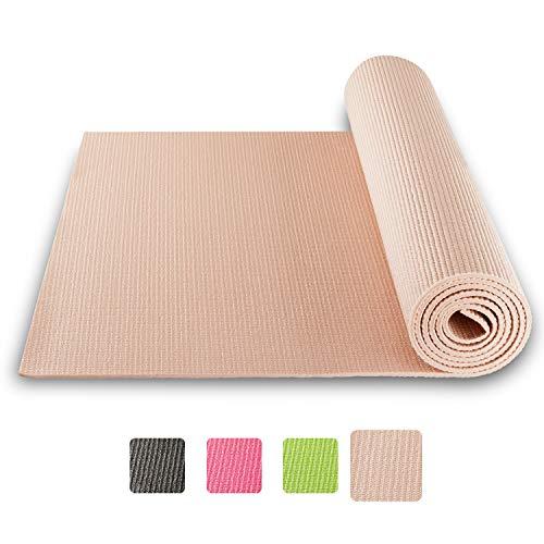 BODYMATE Yogamatte Universal Rose-Gold - Größe 183x61cm – Dicke 5mm – Schadstoffgeprüft durch SGS frei von Phthalaten, BPA, Schwermetallen – Trainings-Matte für Fitness, Yoga, Pilates, Functional