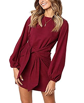 Soft and stretchy fabric provides all day comfort Features: Above knee length,Long sleeve,round neck,Belted,Lightweight,Solid color,Casual style,Office,Wear to Work Unique lantern sleeves and wide belt design can hide the belly and arms, show your gr...