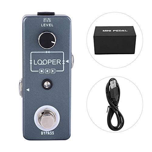 Bnineteenteam Electric Guitar Effect Pedal Looper,Monoblock Single Block Effect Loop Recording Looper Unlimited Overdubs 10 minutes of Looping with USB Cable