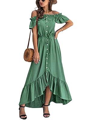 Unique Feature: Women's Maxi Dress/ Women's Off Shoulder Dress/ Short Sleeves Dress/ Ruffle Flared Sleeves/ High Waist/ Tie at Waist/ With Fake Button/ Irregular Hem/ Ruffle Hem/ Short Skirt at front show long legs/ Solid Color/ Flowy Dress/ Elastic ...