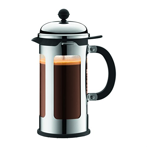 Bodum Chambord 8 Cup French Press Coffee Maker with Locking Lid, Stainless Steel, 34-Ounce