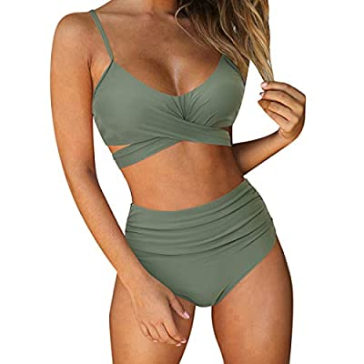 Material: Made of polyester, soft and feel comfortable; High waisted bottom: classic coverage, tummy control high waisted ruched bottom to cover the belly, flattering floral printed; Sexy bandage top: front cross tie knot at back, not removable paddi...