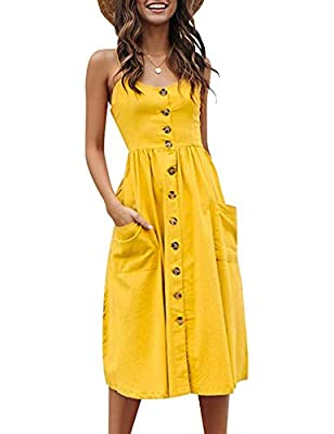 Material: Polyester ,Soft and Stretchy, This Floral Summer dresses Is Comfortable.This button is just a decoration and cannot be opened Unique Style: Sleeveless/Adjustable Staphetti Strap/Two Sides Pockets/Elastic Waist/Midi Length/A-Line/Casual Styl...
