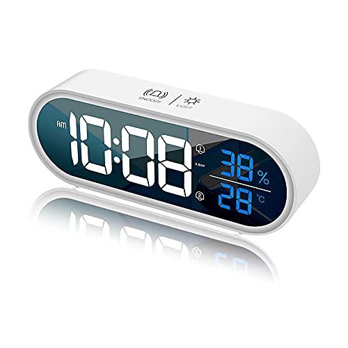 Reloj despertador digital LED con función Snooze, despertador...