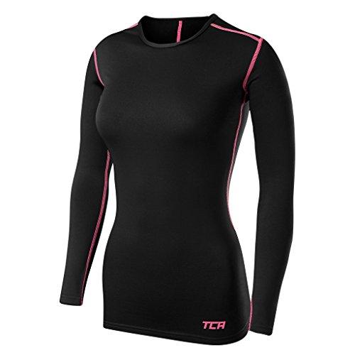 TCA SuperThermal Baselayer Damen Laufshirt/Funktionsshirt - Langarm -Schwarz/Rosa, S