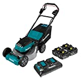 Makita XML06PT1 (36V) LXT Lithium‑Ion Brushless Cordless 18V X2 18' Self Propelled Lawn Mower Kit with 4 Batteries, Teal