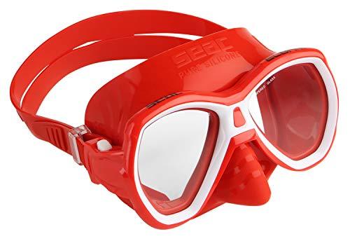 SEAC Elba MD, Maschera Subacquea con Viso Piccolo, Ideale per Snorkeling e Immersioni Giovent Unisex, Rosso, S