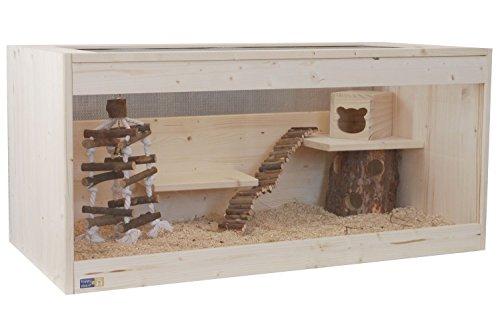 Happy-Nager Hamsterkäfig, Mäusekäfig, Rattenkäfig, Nagerkäfig aus Natur Holz 100 x 51 x 40
