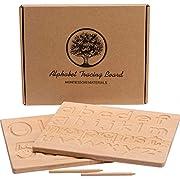 Let's Make Alphabet Tracing Board, 2-teilige doppelseitige Holzbuchstaben-Verfolgungsnummernmuster, großartiges Montessori-Spielzeug für Kleinkinder 10 x 8 x 0,5 Zoll