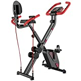 pooboo Folding Exercise Bike Upright Convertible Magnetic Bike