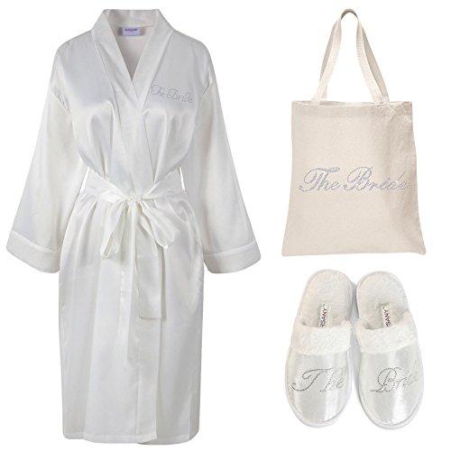 (Ivory) - Varsany Ivory Rhinestone The Bride Satin Bathrobe + Spa Slipper + Tote Bag wedding Personalised day hen party gift set