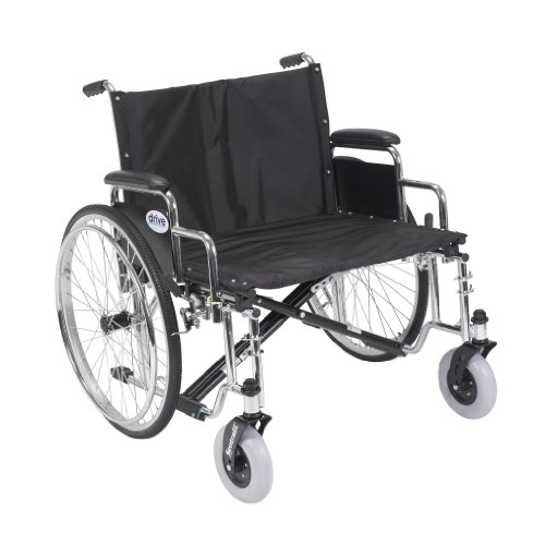 Drive Medical Sentra EC Heavy Duty Extra Wide Wheelchair with Various Arm Styles Arms, Black, 26'