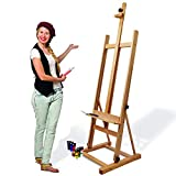 Artina Chevalet de Studio «Siena » - Très Stable - en Bois de hêtre huilé - Hauteur réglable - Hauteur: 185cm