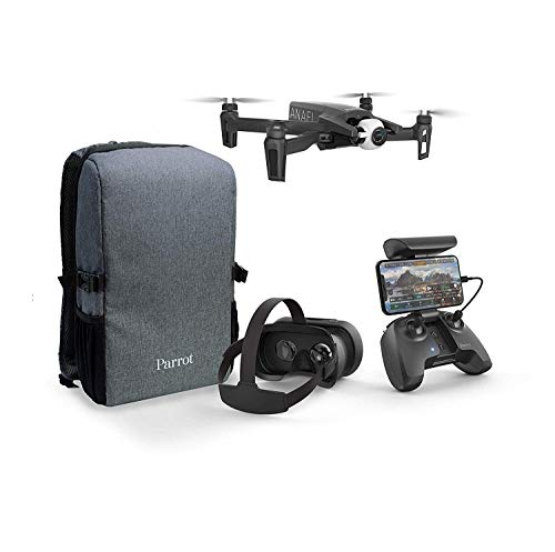 Parrot Anafi - Pacchetto drone FPV - Quadricottero iperleggero e pieghevole - Occhiali FPV Cockpitglasses 3 per voli immersivi in streaming Full HD live - Set completo e compatto con zainetto