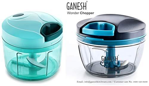 Ganesh Chopper Vegetable Cutter, Pool Green (725 ml) & Wonder Chopper Combo