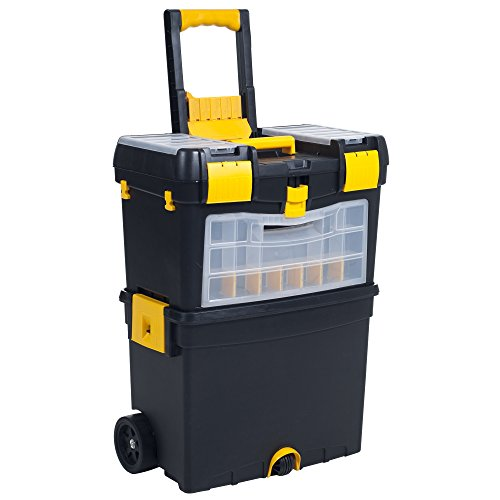 Heavy Duty Rolling Toolbox with Foldable Comfort Handle & Removable Top...