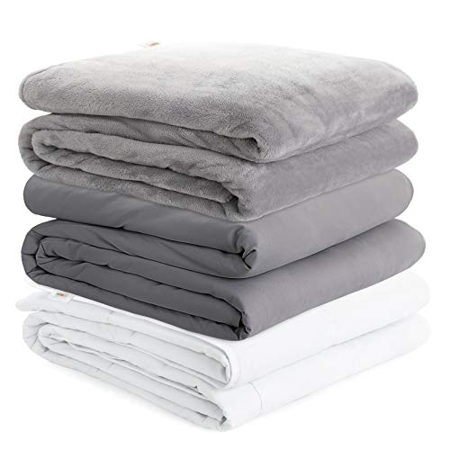 Degrees of Comfort Cooling Weighted Blanket Queen Size w/ 2 Duvet Covers for Cold & Hot Sleepers | Calming Comfort with Nano Glass Beads | Fits One Person, Full Queen Bed 60x80 20lbs Grey