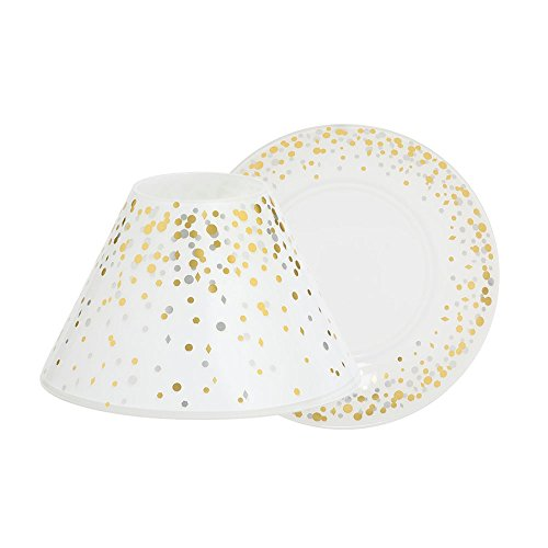 YANKEE CANDLE 1521371Holiday Party LRG S/T Paralume in Vetro, Oro, Bianco, 18x 18x 10cm
