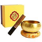 Cuenco tibetano prémium con mazo de madera de alta calidad y cojín del Himalaya, perfecto para meditación, relajación, estrés y ansiedad, terapia de escuelas (10,5 cm)