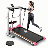 4 in 1 Folding Manual Walking Treadmill,Multifunctional Inclined Treadmills for Small Space - Max Load 330LBS - Height Adjustable,W/T-Wisting Draw Rope,LED Display,Bluetooth,for Home Office Use (A)