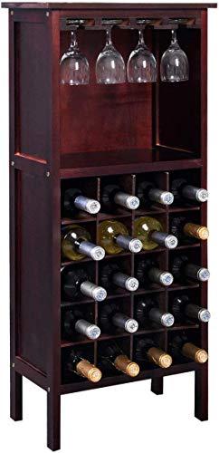 DREAMADE Portabottiglie di Vino Cantinetta per Vino in Legno Armadio Scaffale Porta Vino per casa Bar, 24,5 x 42 x 96 cm (Marrone Scuro)
