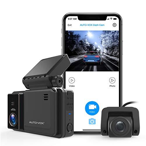 AUTO-VOX WiFi Dash Cam Dual 1080P Telecamera Anteriore e Posteriore con Visione Notturna, IPS touchscreen, G-sensor, Monitoraggio del Parcheggio, Registrazione di Emergenza (AD2)
