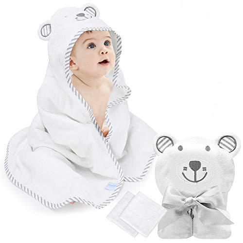 Babybadetuch Eccomum Babyhandtuch mit Kapuze, 2 Waschlappen, 100{9f1cf04710d61bcdb39c4a6794027d05421b1888cce1d8045795eb3e85da0cde} Bio-Bambusfaser, 90 x 90, extra weich und dick, saugfähig, süße Bärenstickerei, perfektes Geschenk für Babys