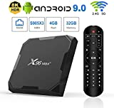 Android 9.0 TV Box 4GB RAM 32GB ROM, X96 Max+ Android TV Box Amlogic S905X3 Quad-core 64 Bits 1000M LAN Dual WiFi 2.4G/5G 3D 8K 4K UHD H.265 BT 4.2 USB 3.0 Streaming Media Player Set Top Box