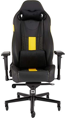 Corsair T2 Road Warrior (Kunstleder Gaming Büro Stuhl, EinfacheMontage,Ergonomisch schwenkbar,verstellbareSitzhöhe & 4D Armlehnen,Komfortablebreite Sitzfläche mit hoher Rückenlehne) Schwarz/Gelb